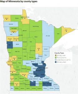 Map of Minnesota by county types