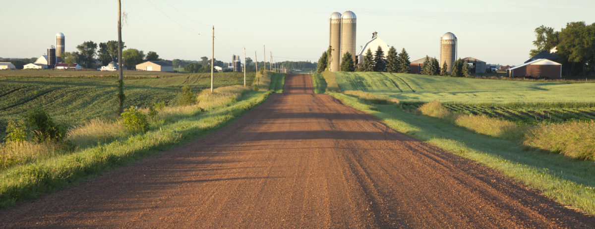 Looking down a road towards a farm
