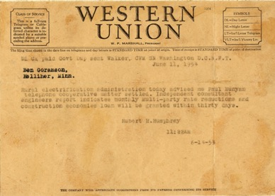 picture of Western Union telegram