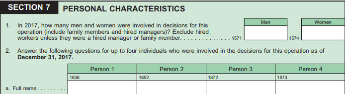 Figure showing Ag census 2017 question asking about personal characteristics.