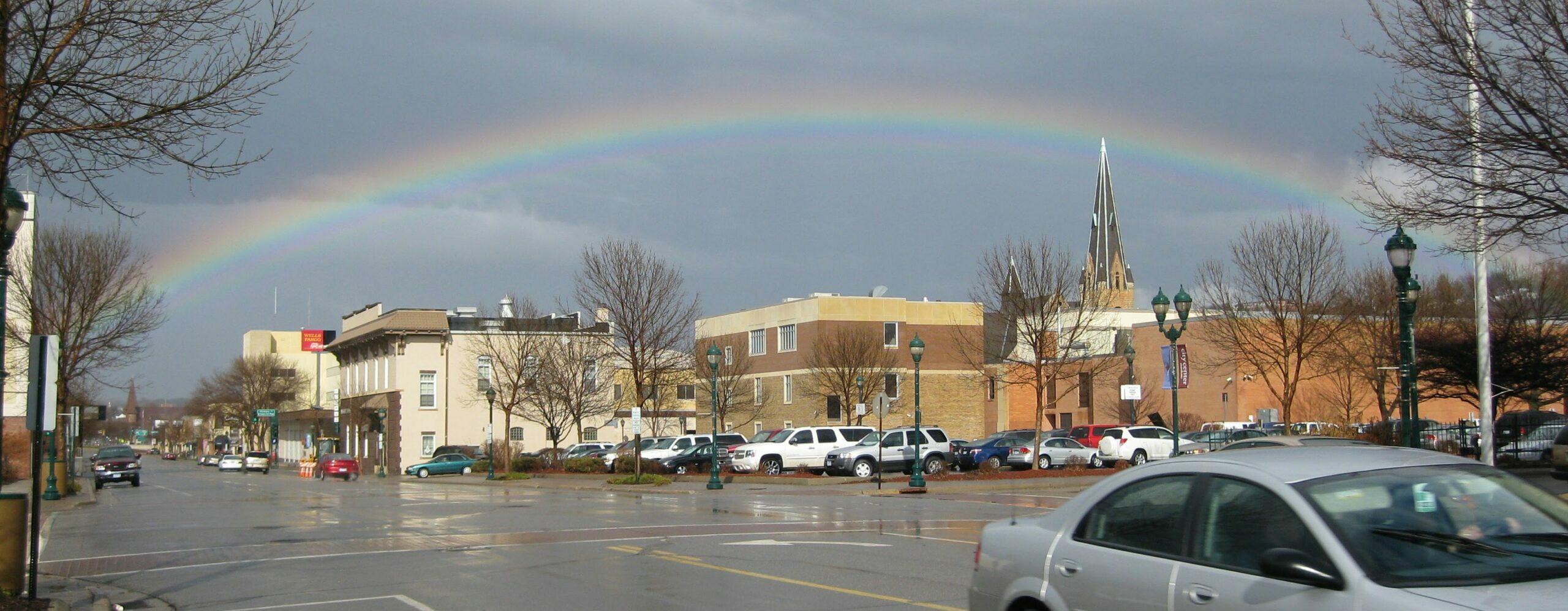 Rainbow over downtown Mankato