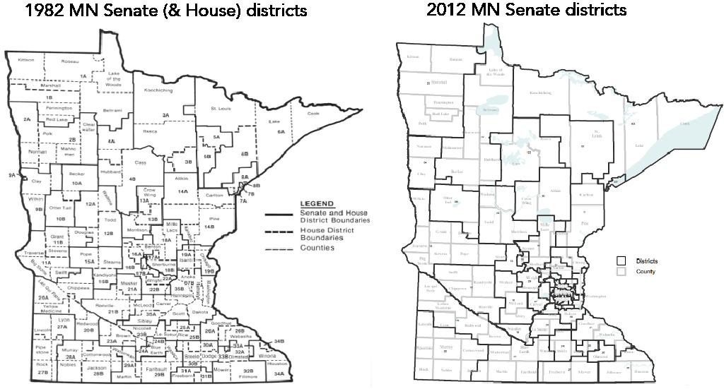 two maps of Minnesota